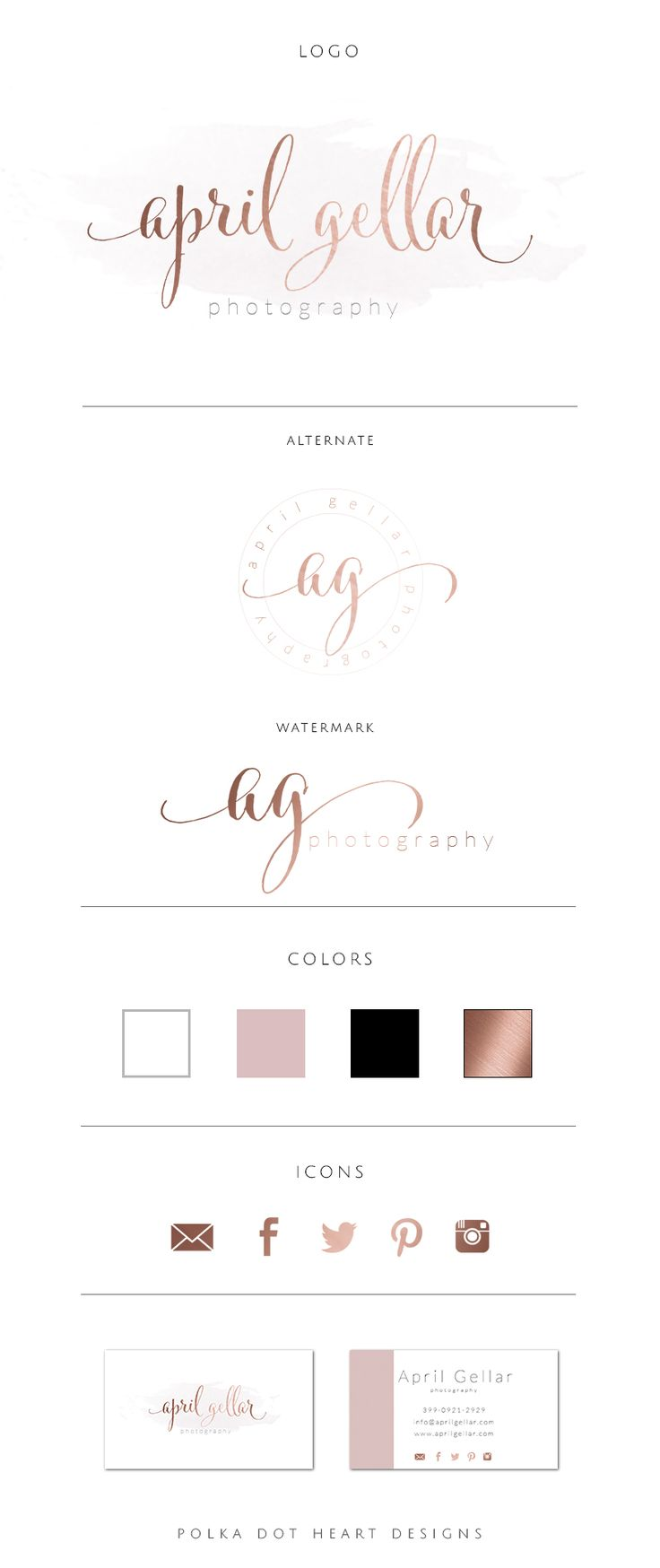 Rose Gold Water color Logo Design by Polka Dot Heart Designs  Rose Gold Logo | Pre made Logo design | Rose gold | Calligraphy Logo | Watercolor Logo | Brand Identity | Brand Board | Branding & Design