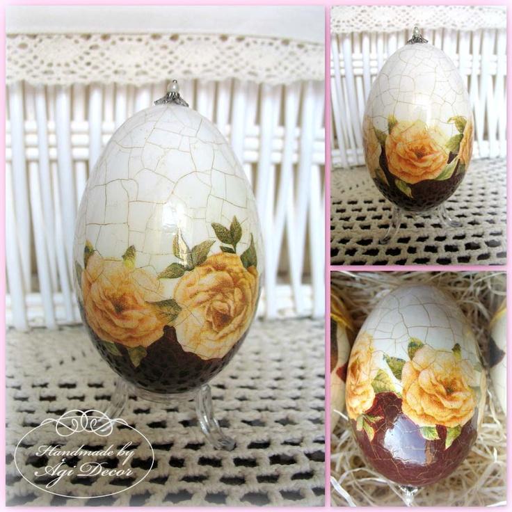yellow roses decoupage eggs