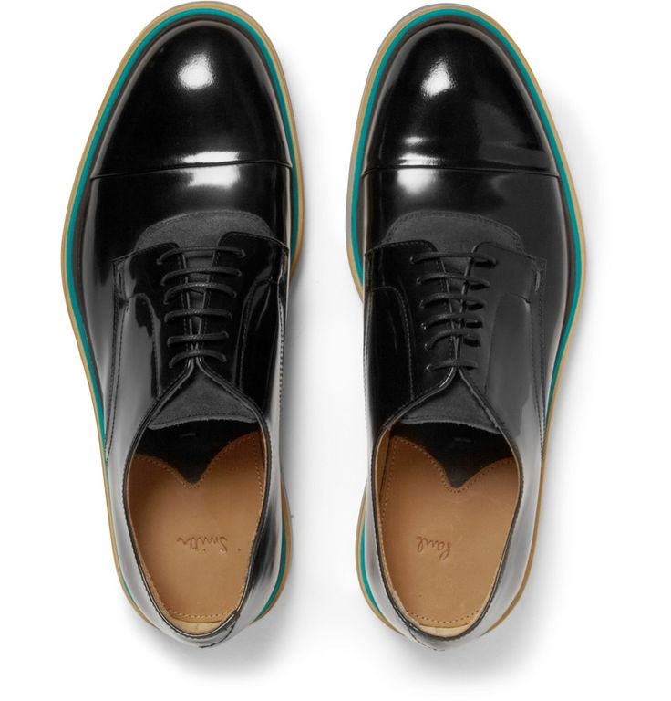 Paul Smith Rubber-Soled Polished-Leather and Suede Derby ...