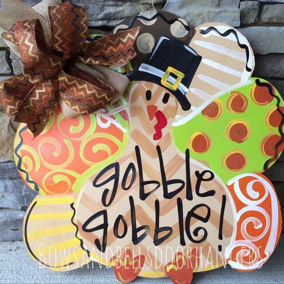 Turkey Door hanger fall door hanger by BowsandBellsHangers on Etsy, $42.99