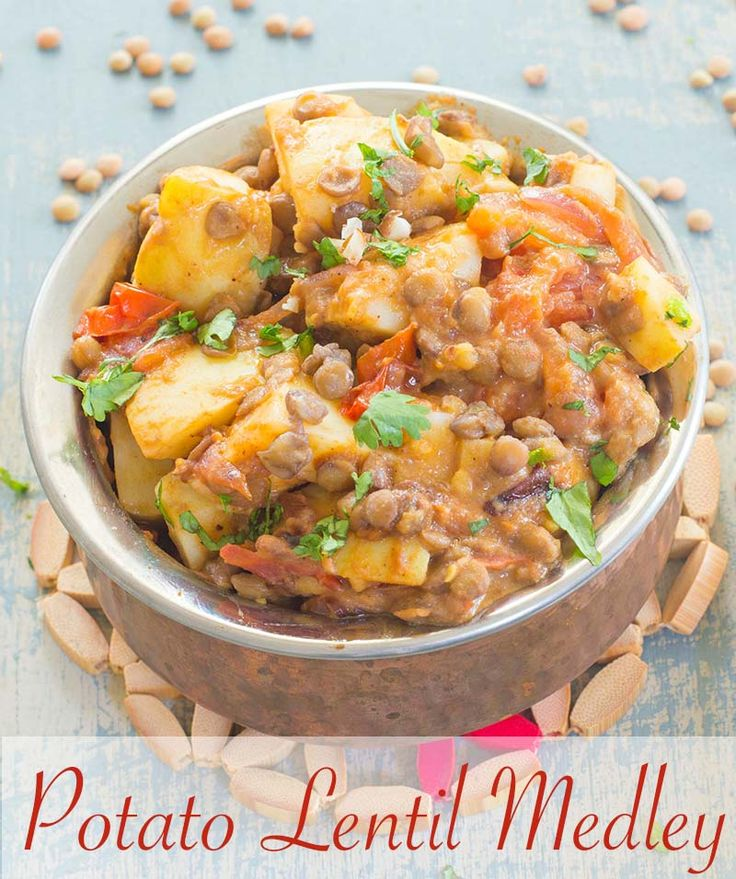 Potato and Lentils Cooked in a simple Dijon Sauce.  Its the perfect light lunch or side dish | #vegan #lunch #sidedish #healthy #comfortfood #potato #lentils #protein Healthy side dishes, easy side dish, potato recipes