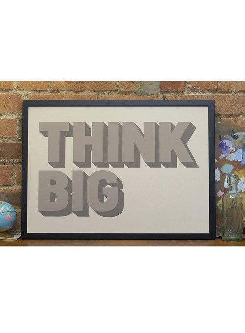 This design has been screen printed by hand in two shades of grey onto 170gsm mist colour paper. We hope it inspires you to think big! | huntingforgeorge.com