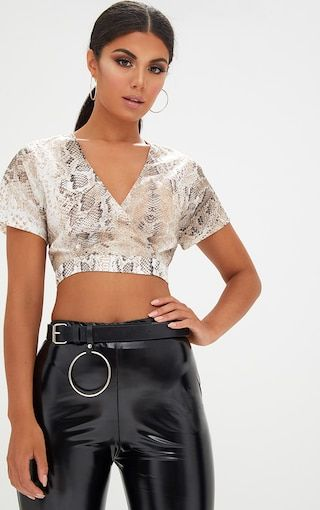 050ede9c1e5 Cream Snake Print Shortsleeve Crop BlouseLook hella cute in this crop  blouse featuring cross neck.