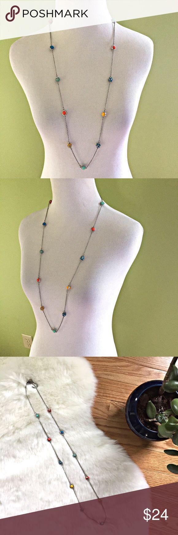 "Lia Sophia long beaded necklace Beautiful long beaded necklace from Lia Sophia. Adjustable length 35.5"" - 38.5"". Lobster clasp. EUC Lia Sophia Jewelry Necklaces"