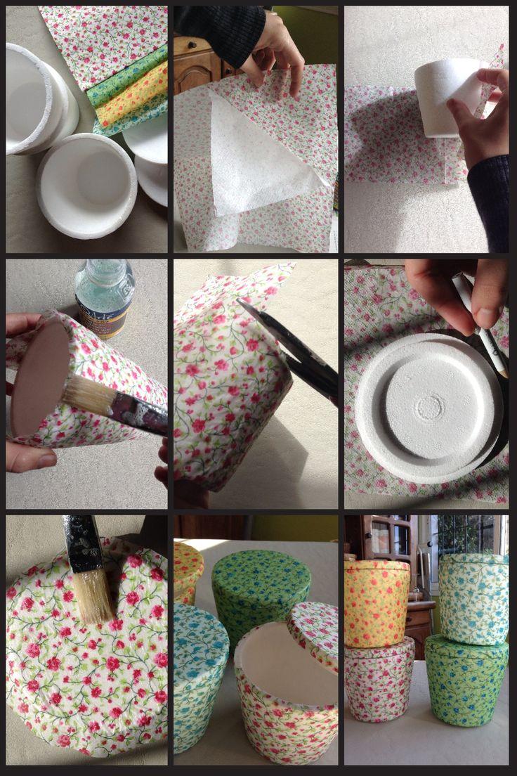Make some cute boxes with recycled styrofoam icecream cups using decoupage technique   Cajitas hechas de vasos de un cuarto de helado de telgopor reciclados con la técnica de decoupage