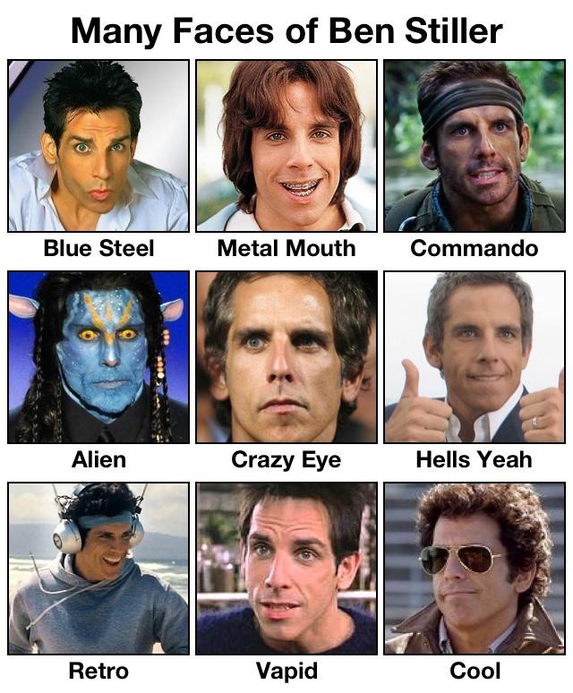 Many faces of funny guy ben stiller