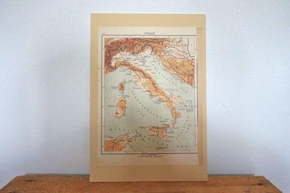 1920s Vintage Antique Map print Italy atlas by vandcvintage