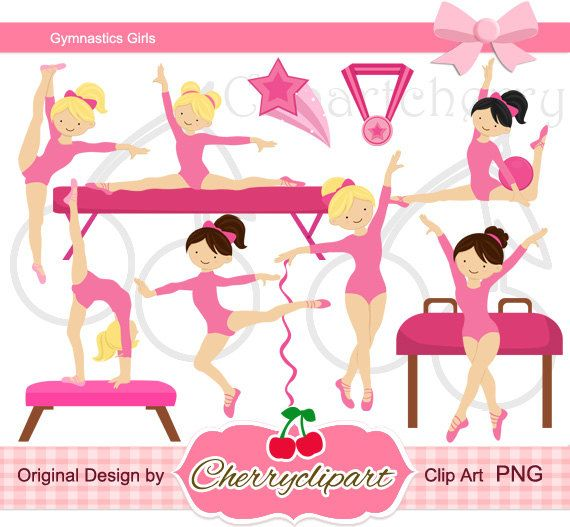 Pink Gymnastics Girls Digital Clipart Set for-Personal and Commercial Use-paper crafts,card making,scrapbooking,and web design