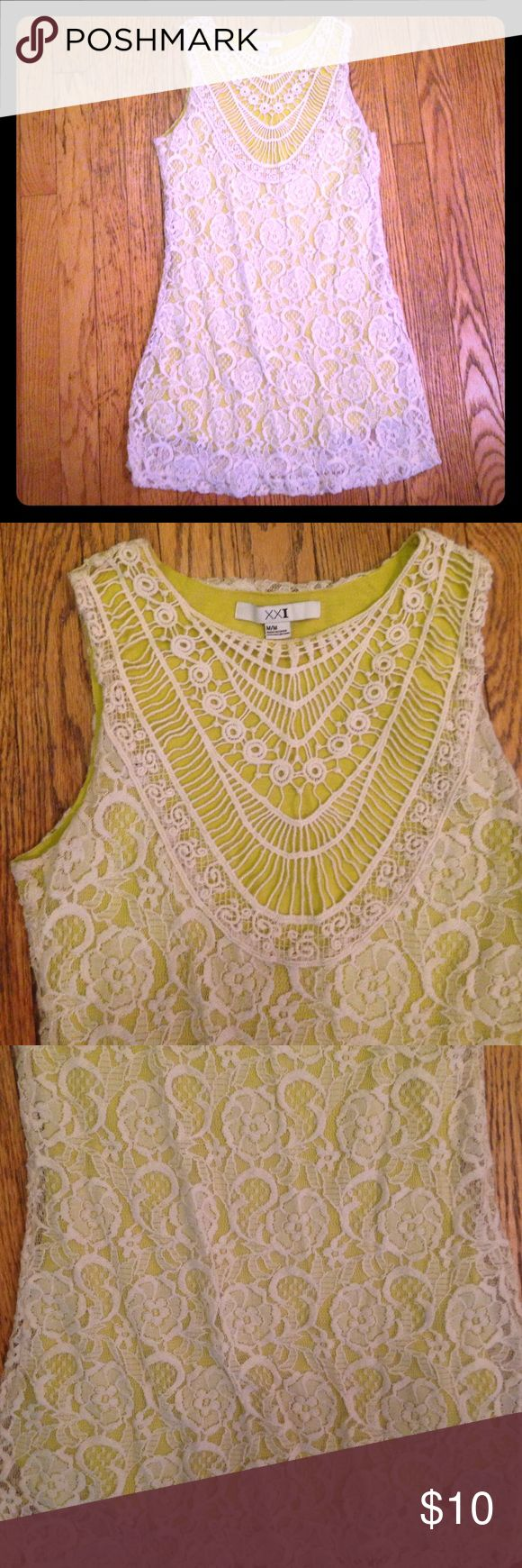 """Forever 21 boho lace & crochet festival dress Ivory and lime green dress. Bust 36"""" waist 31"""" hips 36"""". Material 51% cotton 43% nylon 6% rayon Forever 21 Dresses"""