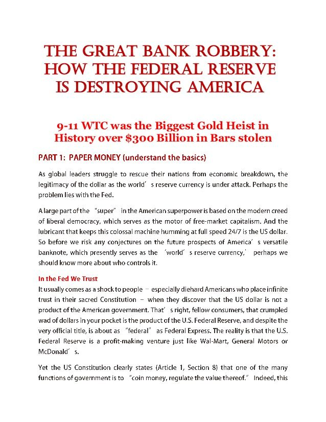 #The great bank robbery how the federal reserve is destroying america INFOWARS.COM  BECAUSE THERE'S A WAR ON FOR YOUR MIND