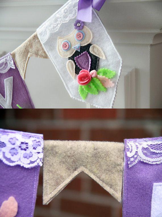 Girl Nursery Bunting Owl Nursery Decor Baby Name by HouseOfLaylayt