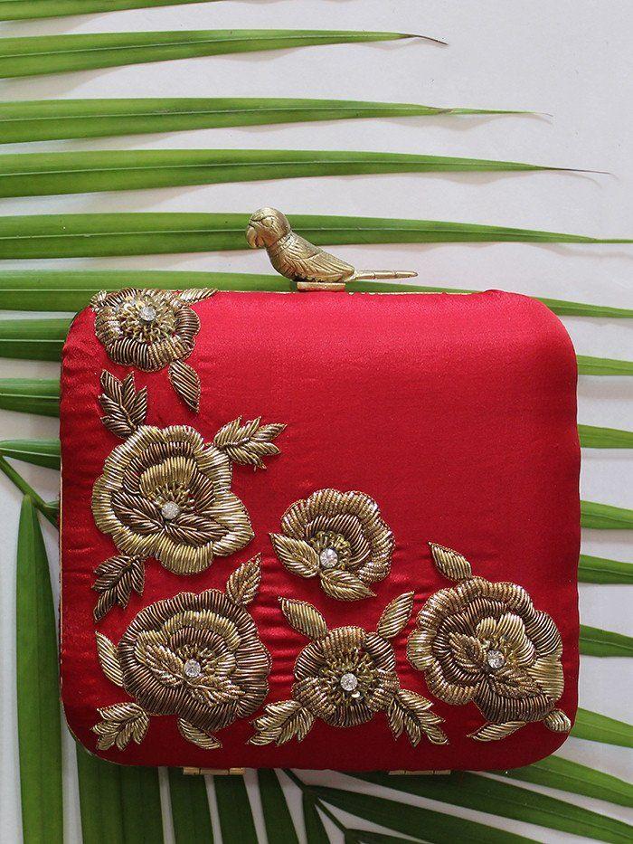 Red Floral Silk Clutch