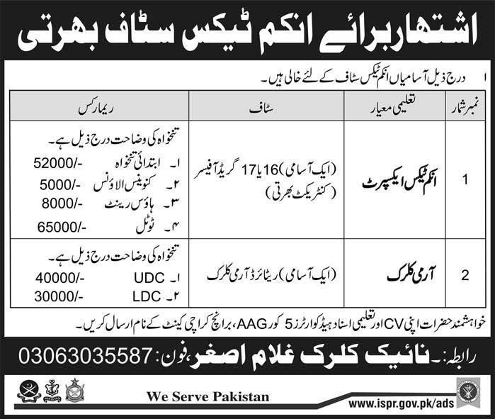 Pak Army Jobs 2017 for Income Tax and Clerk Staff in November 2017