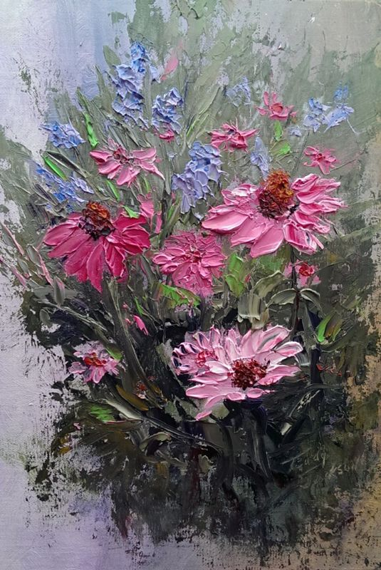 """Just Plain Fun"" is my first palette knife painting completed in oil.   At the request of my students, I began exploring the world of palette knife painting.  It is so much fun."