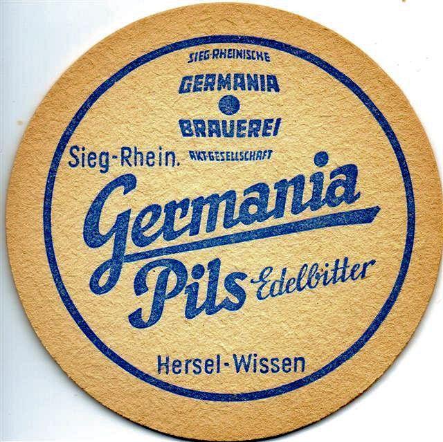 Rückseite ? eines alten Bierdeckels der Germania-Brauerei Wissen - Germania Pils Edelbitter - nach Pilsener Brauart, etwas stärker gehopft als heutige Pilssorten