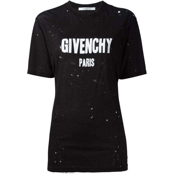 Givenchy distressed logo T-shirt (2.245 BRL) ❤ liked on Polyvore featuring tops, t-shirts, shirts, tees, black, t shirt, short sleeve shirts, givenchy shirt, ripped shirt and tee-shirt