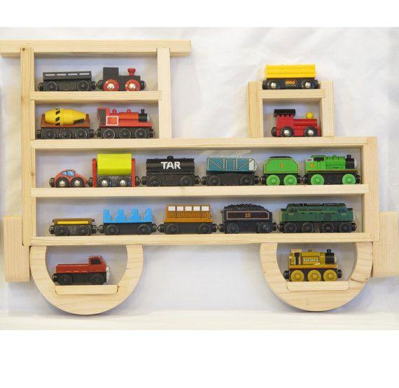 Wooden Wall Storage Train Engine Rack Organizer for Thomas the Tank Engine and Brio Wood Tracks