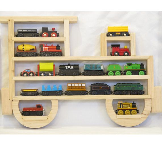 Wooden Wall Storage Train Engine Rack Organizer for Thomas the Tank Engine and Brio Wood Tracks - need need need