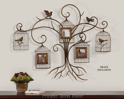Old World Tuscan Wall Photo Frame Collage Birds & Bird Cage Design: Photos Collage Wall, Birds Cages, Paza Photos, Collage Birds, Photos Display, Families Trees, Metals Wall Art, Photos Frames Collage, Wall Photos