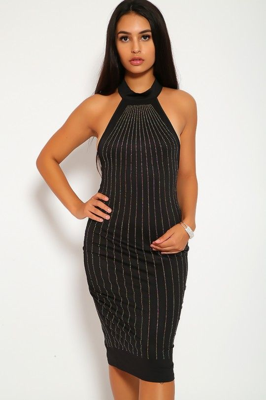 7e3949fd918  AmiClubwear  Onlineshopping Sexy Black Rhinestone Mock Neck Knee Length  Dress  20.25 Check this beautiful