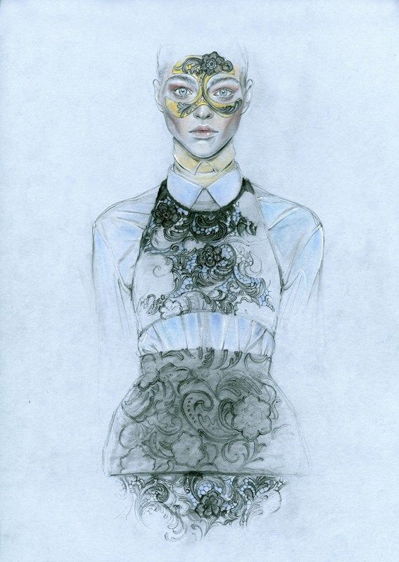 Cedric Rivrain -  Sasha Pivovarova in Prada for Doing Bird - (Week 4 - Eduardo) - Paris - 2012?. Coloured Pencils.  The layers of detailing are effective in portraying the textiles and drape of fabric. The use of a more subdued skin tone contributes to the stylisation of the illustration. I like how the arms fade into the background and this give the illustration a more refined aesthetic.