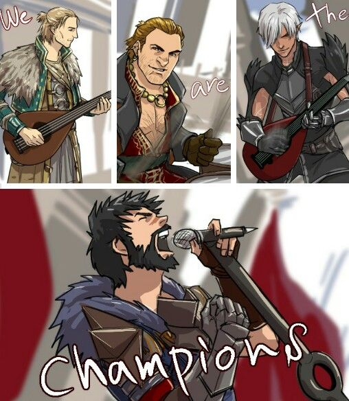 Dragon Age 2 - Champions http://dakkun39.tumblr.com Anders, Varric Fenris, Hawke