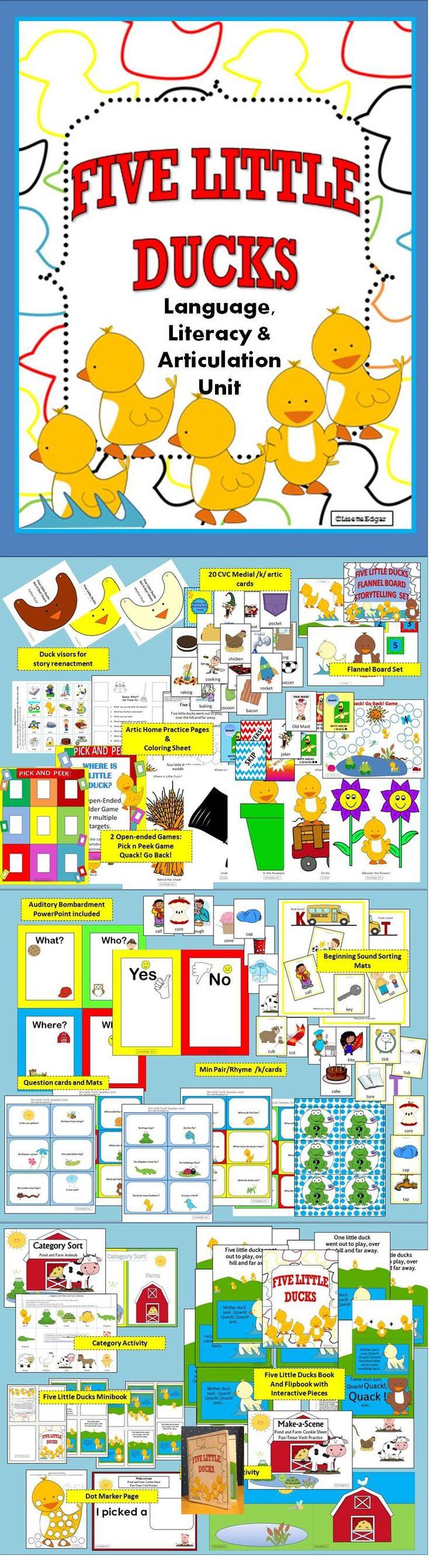 $ 15 activities to teach final /k/, spatial concepts, description, categorization and more! Includes Five Little Ducks Flipbook.