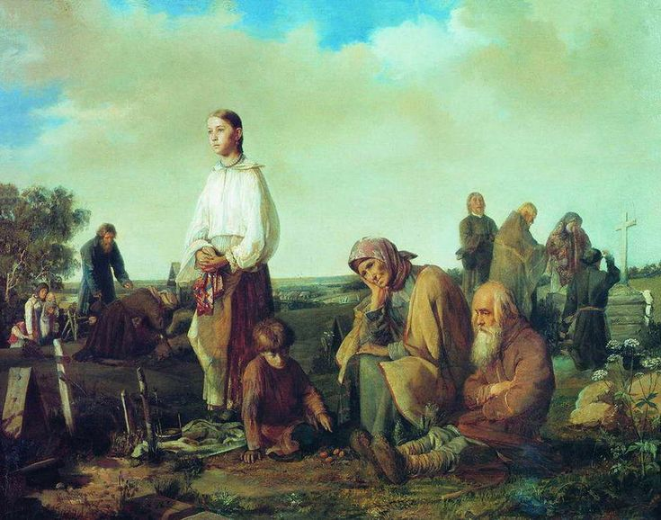 """Поминки на деревенском кладбище"" Корзухин А.И.1865"