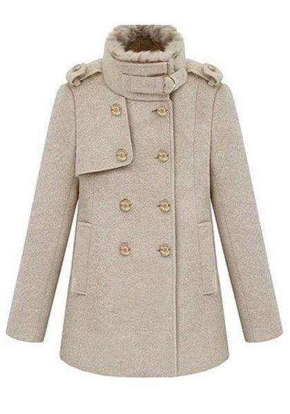 ++ Milky-white Epaulets Double Breasted Cotton coat