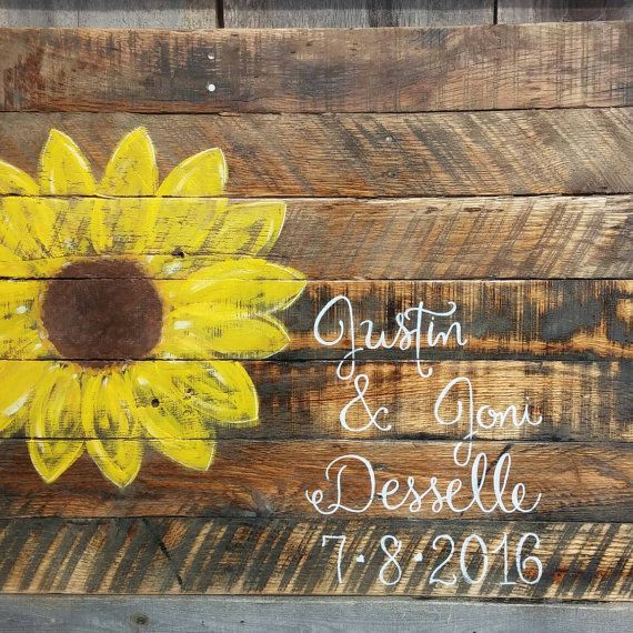 Large pallet sunflower wedding guest book by SawmillCreations