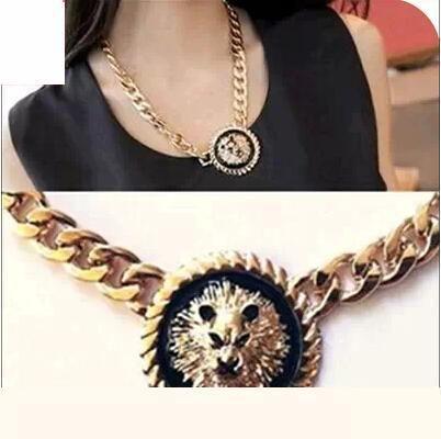 Omh 6 шт. OFF22 % = $ 2.33 / pcs XL40 аксессуары тяжёлый металл черный лев head портрет грубой ожерелье винтажный цепь 45 g
