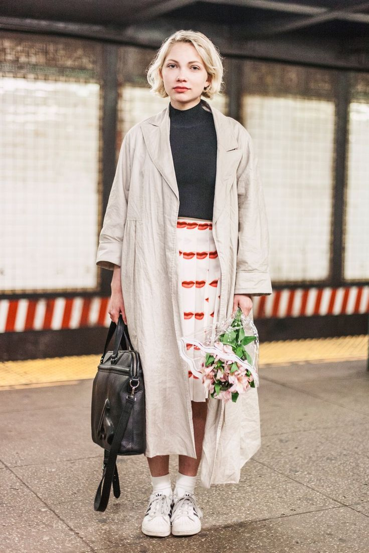 Subway Stalking: Spring Edition! #refinery29  http://www.refinery29.com/nyc-subway-street-style-pictures#slide-5  Name: Tavi Gevinson Job: Editor of Rookie, writer, actress What She's Wearing: Carven top, Prada skirt, Creatures of the Wind jacket, adidas sneakers, and a Vlieger & Vandam bag.Spotted On: The L trainOne patterned piece can go a long way. Tavi — who was celebrating her birthday! — pairs Prada's ubiquitous lips print with an array of neutral staples.
