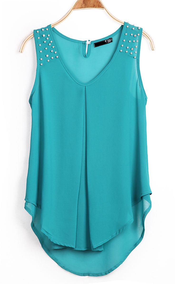 Green Sleeveless Bead Dipped Hem Chiffon Blouse - Sheinside.com