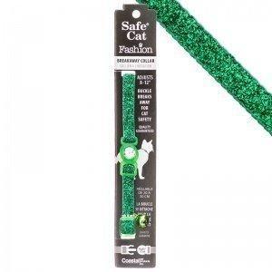 Safe Cat Jeweled Adjustable Breakaway Cat Collar - Green Glitter for Necks 8-12 - (3/8 Wide)