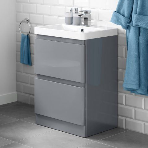 600mm Denver II Gloss Grey Built In Basin Drawer Unit - Floor Standing with Waste