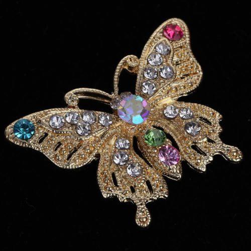 Plaque-Or-Vintage-insecte-papillon-Broche-strass-cristal-bijoux-des-femmes