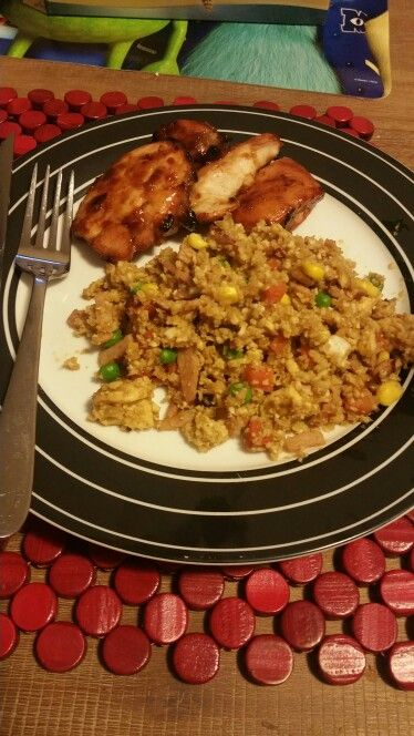 Baked Sweet Chilli & BBQ Chicken with Cauliflower Fried Rice