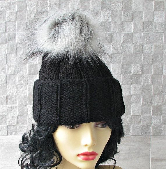 Black Knit Hat   Womens Knit Beanie  Bobble Hat by DamovFashion