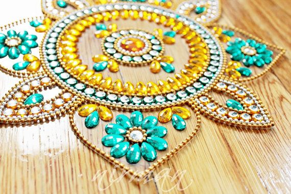 Sunflower Rangoli, Rhinestone Wedding table decor, Diwali decor - Yellow