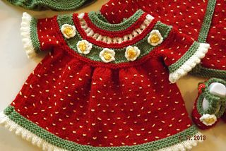 "Strawberry Shortcake Dress! This pattern is available as a free Ravelry download Knitting Pattern to knit this adorable baby dress in sizes from 14"" to 24"" Chest. Match..."