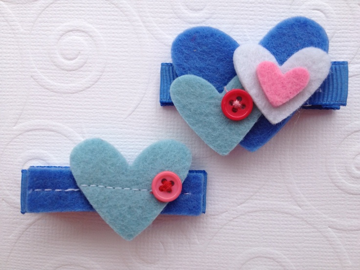 Felt Hearts Hair Clip Set for Baby or Girl by PunkyPunkinCreations, via Etsy.