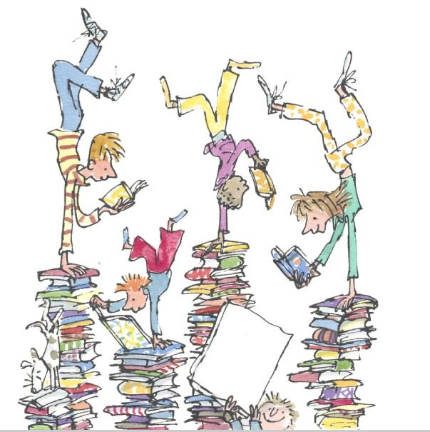 Quentin Blake children on book stacks http://www.theatreofyouth.org