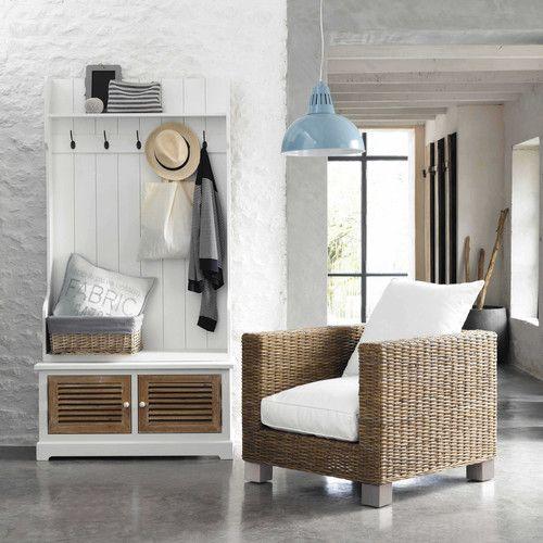 Beautiful mobile bianco da ingresso in legno con l cm with for Cancelli in ferro leroy merlin
