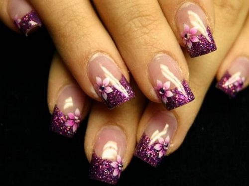 French Manicure with Purple Glitter Tips and Purple Flowers