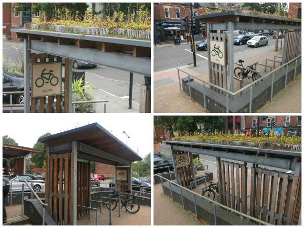 Arquitetura sustentável em loja - bicicletário com telhado verde