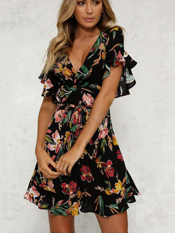 f296f6b1e Flada negra con flores 2018 cuello en V volantes manga corta estampado Mini  vestido para verano