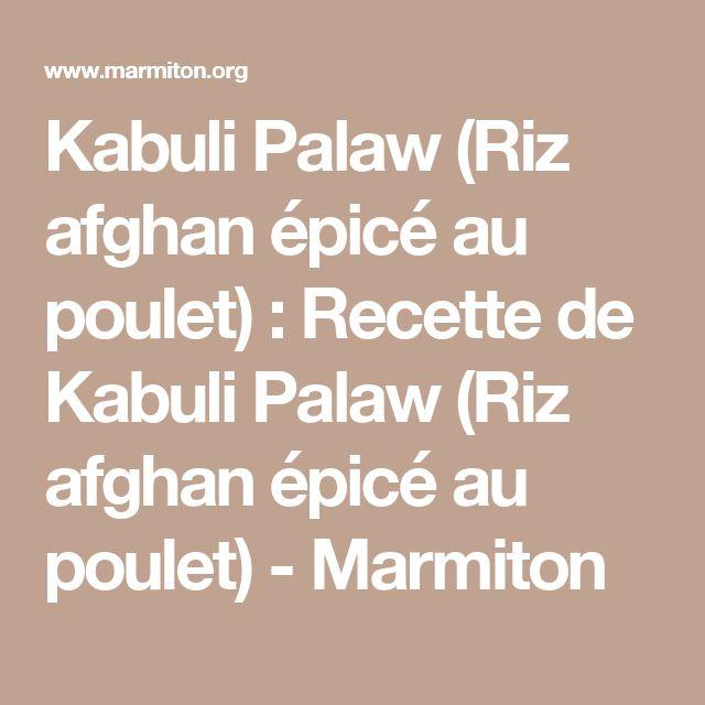 Ideal Kabuli Palaw Riz afghan pic au poulet