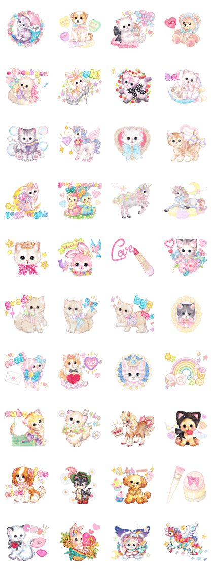 I want to touch your heart.Japanese KAWAII stickers of cute cats.2nd versionstickers by illustrator Fumika Amenomori.I want to touch your heart.