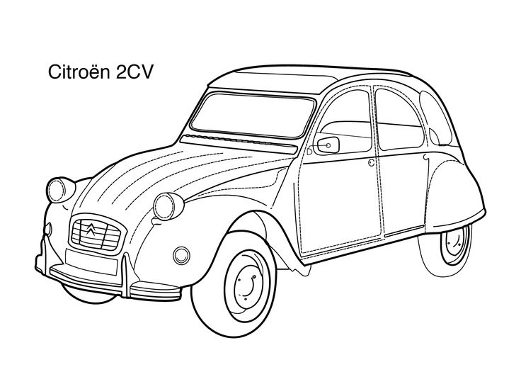 Super Car Citroen 2cv Coloring Page For Kids Printable