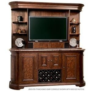 Howard Miller Ithaca Back Bar Hutch. h1Howard Miller Ithaca Back Bar Hutch_h1The Howard Miller Ithaca Back Bar Hutch. This elegant Bar Hutch features antique brass hardware and ease of access to electronics. Remove the adjustable center shelf (wood with glas.. . See More Wine Cabinets at http://www.ourgreatshop.com/Wine-Cabinets-C1070.aspx